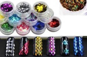 Набор ромбиков для дизайна ногтей, 12 шт,( цветные)