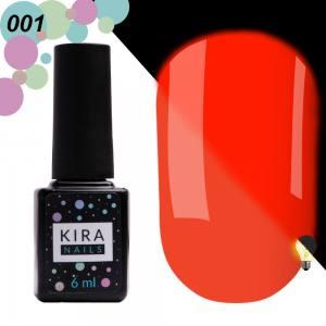Гель-лак Kira Nails FLUO 001 (оранжевый, флуоресцентный), 6 мл