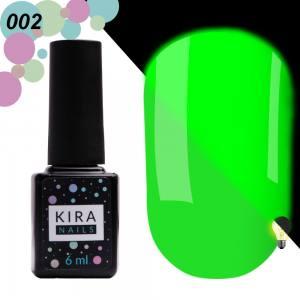 Гель-лак Kira Nails FLUO 002 (салатовый, флуоресцентный), 6 мл