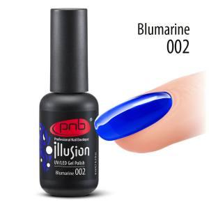 Витражный гель-лак PNB Blumarine 002, 8 мл кристально чистый, синий