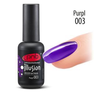 Витражный гель-лак PNB PNB Purpl 003, 8 мл глубокий, чистый сливовый (фиолетовый)