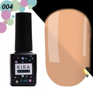 Гель-лак Kira Nails FLUO 004 (бежево-розовый, флуоресцентный), 6 мл