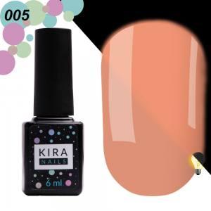 Гель-лак Kira Nails FLUO 005 (розовый, флуоресцентный), 6 мл