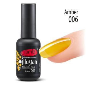 Витражный гель-лак PNB PNB Amber 006, 8 мл солнечный янтарный цвет (желто-горячий)