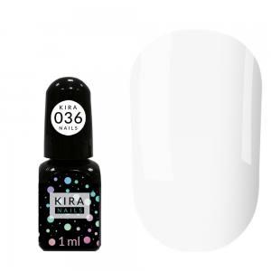 Гель-лак Kira Nails Mini №036 (белый, эмаль), 1 мл