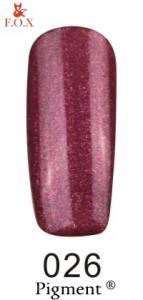 Гель-лак F.O.X  026 (бордово-винный, микроблеск), 6 мл