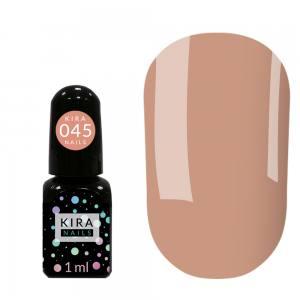 Гель-лак Kira Nails Mini №045 (темно-карамельный с мелким шиммером), 1 мл