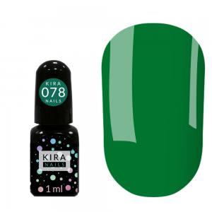 Гель-лак Kira Nails Mini №078 (зеленый, эмаль), 1 мл