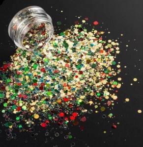 Камифубики новогодние, конфетти для дизайна ногтей MC-101