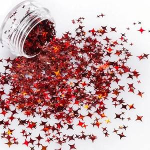 """Конфетти """"Рождественские звезды"""" красные, для дизайна ногтей CS-102"""