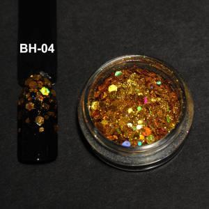 Голографический брокат для дизайна ногтей (BH-04), золото