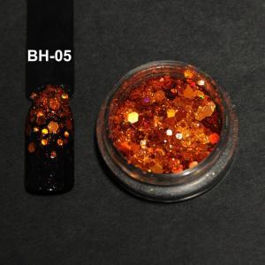 Голографический брокат для дизайна ногтей (BH-05), оранжевый