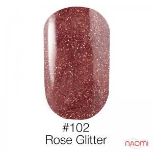 Гель-лак Naomi 102 Rose Glitter, 6 мл