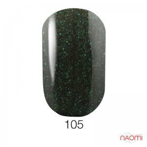 Гель-лак GO 105 темный серо-зеленый с цветными шиммерами, 5,8 мл