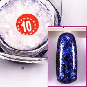 Хлопья Юки  Beauty-Nail №10 ( голубой, фиолетовый, синий )