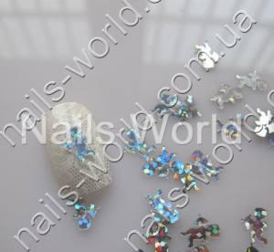 Купидончики для дизайна ногтей серебрянные