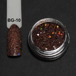 Голографический брокард для дизайна ногтей (BG-10), коричневый