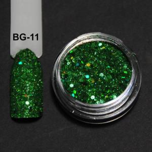 Голографический брокард для дизайна ногтей (BG-11), зеленый