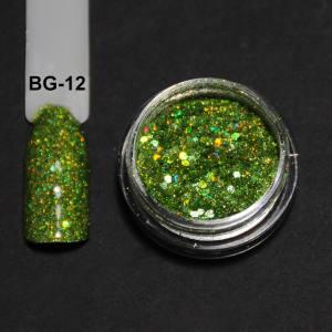 Голографический брокард для дизайна ногтей (BG-12), светло-зеленый