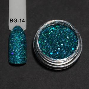 Голографический брокард для дизайна ногтей (BG-14), бирюзовый