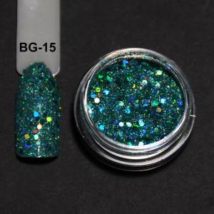 Голографический брокард для дизайна ногтей (BG-15), тиффани