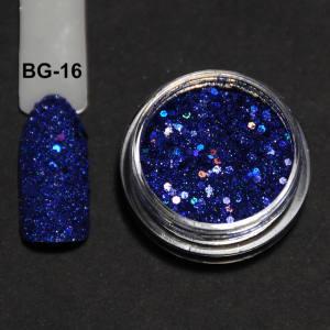 Голографический брокард для дизайна ногтей (BG-16), синий