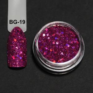 Голографический брокард для дизайна ногтей (BG-19), фуксия