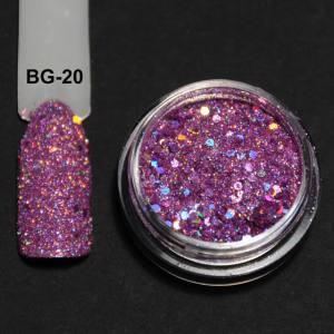 Голографический брокард для дизайна ногтей (BG-20), розовый