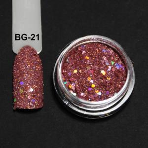 Голографический брокард для дизайна ногтей (BG-21), розово-бежевый
