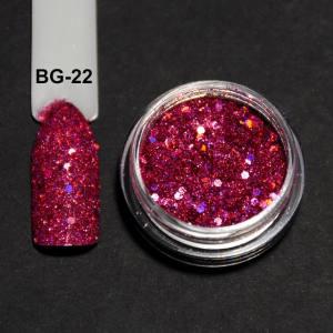 Голографический брокард для дизайна ногтей (BG-22), малиновый