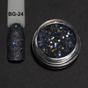 Голографический брокард для дизайна ногтей (BG-24), графитовый