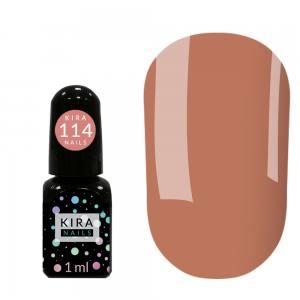 Гель-лак Kira Nails Mini №114 (розовато-коричневый, эмаль), 1 мл