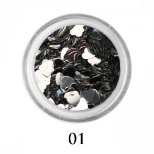 Блестки сердечки Adore 3 мм №01 серебро