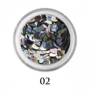 Блестки сердечки Adore 3 мм №02 голографическое серебро