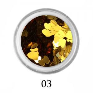 Блестки сердечки Adore 3 мм №03 золото