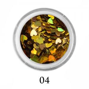 Блестки сердечки Adore 3 мм №04 голографическое золото