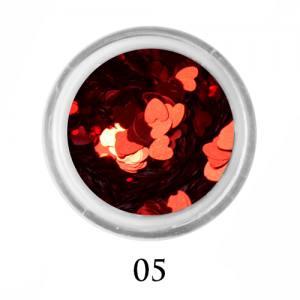 Блестки сердечки Adore 3 мм №05  красный