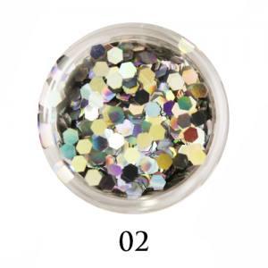 Блестки-диаманты Adore 2 мм №02 серебро голограмма