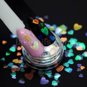 Прозрачные камифубуки (сердца) для дизайна ногтей, микс размеров, голографические KMP-5