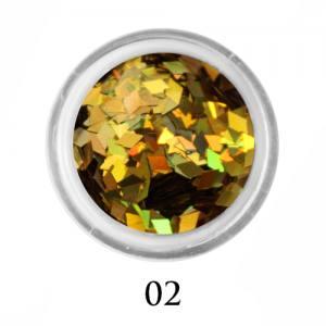 Ромбики для декора Adore 2 мм 2,5г №2 в банке золото голографик