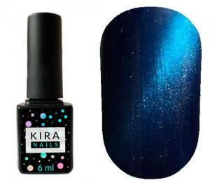 Гель-лак Kira Nails Cat Eye №007 (изумрудно-синий, магнитный), 6 мл