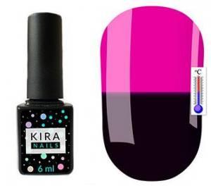 Термо гель-лак Kira Nails №T01 (темно-баклажановый, при нагревании темная фуксия), 6 мл