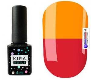 Термо гель-лак Kira Nails №T06 (приглушенно-малиновый, при нагревании насыщенный оранжевый), 6 мл