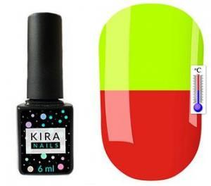 Термо гель-лак Kira Nails №T07 (кирпично-красный, при нагревании кислотно-желтый), 6 мл