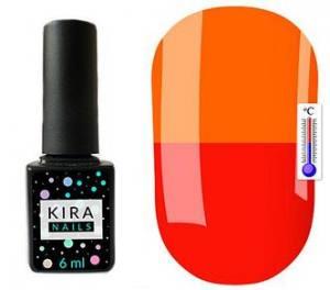 Термо гель-лак Kira Nails №T08 (приглушенный красный, при нагревании кислотно-оранжевый), 6 мл