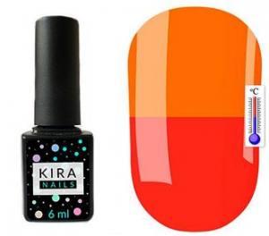 Термо гель-лак Kira Nails №T10 (красно-коралловый, при нагревании яркий оранжевый), 6 мл