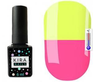 Термо гель-лак Kira Nails №T12 (чайный розовый, при нагревании желтый), 6 мл