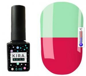 Термо гель-лак Kira Nails №T14 (приглушенная темная фуксия, при нагревании бледно-зеленый), 6 мл