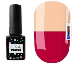 Термо гель-лак Kira Nails №T15 (розово-малиновый, при нагревании светлый, персиково-розовый), 6 мл