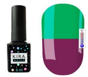 Термо гель-лак Kira Nails №T18 (приглушенный баклажановый, при нагревании яркий зеленый), 6 мл